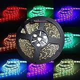 LED-Lichterband, 24V DC, 5Meter, RGB-LED-Band, Lichterband-Kit, Flexible 5050-SMD-LED-Lichtleiste, 300LEDs/Rolle, superhelles wasserdichtes LED-Lichterband für den Innen- & Außenbereich, zur Dekoration, mehrfarbiges Licht, farbwechselnd