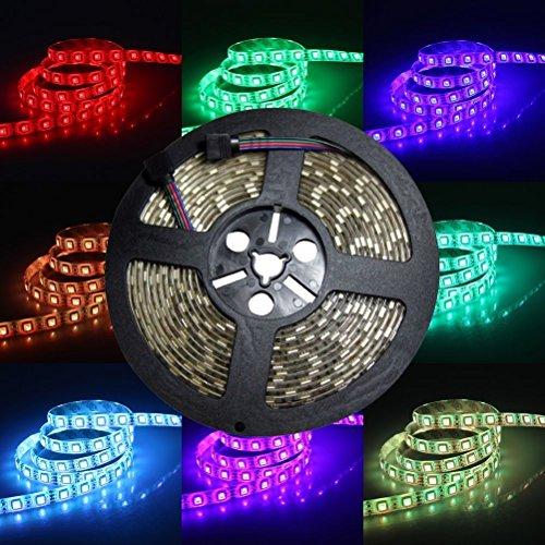LED-Lichterband, 24V DC, 5Meter, RGB-LED-Band, Lichterband-Kit, Flexible 5050-SMD-LED-Lichtleiste, 300LEDs/Rolle Superhelles Wasserdichtes LED-Lichterband für Innen- & Außenbereich, zur Dekoration, Mehrfarbiges Licht, farbwechselnd