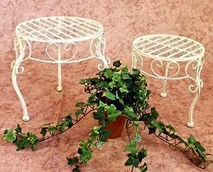 DanDiBo Blumenhocker Romance 2er Set Blumenständer 20218 Pflanzenständer Hocker Weiß