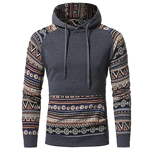 Haroty Herren Freizeit Kapuzenpullover Hoodie Pullover Slim Fit Ethno Stil Sweatshirt Sport Kapuzen-Sweatshirt Langarmshirt Pulli (L, Dunkelgrau)