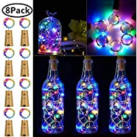 Wine Bottle Lights with Cork, 8 Pack Battery Operated LED Cork Shape Silver Copper Wire Colorful Fairy Mini String Lights for DIY, Party, Decor, Wedding Indoor Outdoor Multicolor
