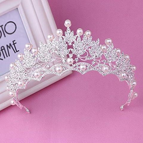 OUYANG Nobile corona orecchino collana set strass perla nuziale accessori , 3 - Strass Floreali Collana Orecchini