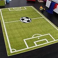 Paco Home alfombra con diseño de campo de fútbol, para niño, verde y blanca, 80x 150cm