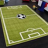PHC Teppich Kinderzimmer Fußball Spielteppich Kinderteppich Fußballplatz Grün