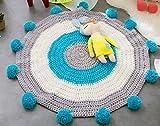 PYRUS Handmade Tappeto di Tessuti di Lana, Tappeto Della Finestra a Golfo per la Camera dei Bambini, Handmade Tappeto a Righe, Nuova Collezione Nello Stile Nordeuropeo (blu)