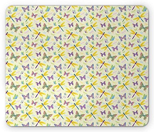 Schmetterling Mauspad, 3D Illustration der bunten geflügelten Flying swallowtails Papillions und Libellen, Standard Größe Rechteck rutschfeste Gummi Mauspad, multicolor
