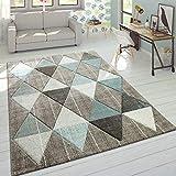 Paco Home Designer Teppich Modern Konturenschnitt Pastellfarben Rauten Design Beige Blau, Grösse:80x300 cm