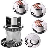 SHD professionell installation, uttagslist, infällbar, flera uttag – 3-fack med USB, 2x laddare, kabellängd 1,5 m, redo att a