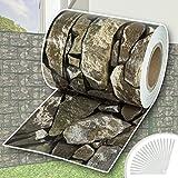 TecTake PVC Sichtschutzfolie Sichtschutzstreifen inkl. Befestigungsclips 450g/m² - diverse Modelle - (35m Stein-Optik | Nr. 401869)
