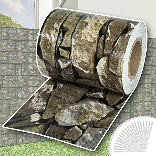 TecTake PVC Sichtschutzfolie Sichtschutzstreifen inkl. Befestigungsclips 450g/m² - diverse Modelle - (70m Stein-Optik | Nr. 401880)