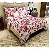 Home Candy 144 TC one Cotton Double Bedsheet with 2 Pillow Covers - Pink (CTN-BST-338)