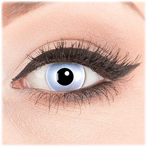 (Glamlens Farblinsen 1 Paar deckend grau - schwarze Crazy Fun Mirror Kontaktlinsen ohne Stärke + Behälter von Glamlens. Perfekt zu Halloween, Karneval, Fasching, Fasnacht oder Cosplay, Manga und Zombie Kostüme.)