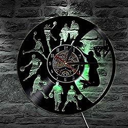 GuoEY Baloncesto Reloj de pared Reloj de iluminación LED MUTE Muchacho Decoración Habitación de diseño moderno con temática deportiva de pared Reloj de pared de vinilo decoración Casa del Artista