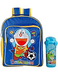 Uxpress Doraemon Blue School Bag With Water Bottle