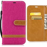 Funda LG K8 (2017) / LG X300 / LG M200N Carcasa, Ougger Tela de Mezclilla Silicona Tapa Premium Piel Billetera PU Cuero Magnética Stand Flip Cover Bumper Protector con Ranura para Tarjetas (Rosa)