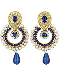 Fashion Jewels Exclusive Blue Golden White Stylish Designer Gold Plated Dangle Drop Earrings For Girls, Women,...