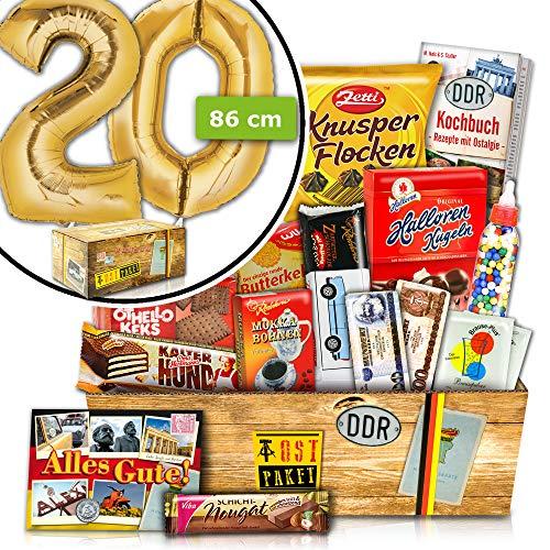 Geschenke zum 20. Geburtstag - INKL. FOLIENBALLON 20 Gold - Süßes DDR Set