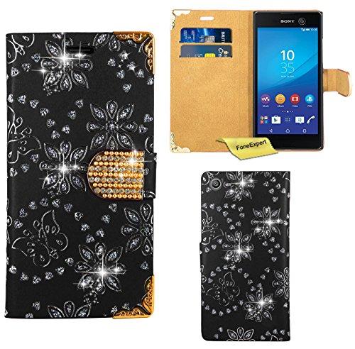 Preisvergleich Produktbild Sony Xperia M5 Handy Tasche, FoneExpert® Bling Luxus Diamant Hülle Wallet Case Cover Hüllen Etui Ledertasche Premium Lederhülle Schutzhülle für Sony Xperia M5 (Schwarz)