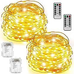 Lichterkette Lichterkette beleuchtet batteriebetrieben100 LED 33ft Lichterkette Kupferdraht 2er Set Firefly Lichter mit Fernbedienung (Timer) für Schlafzimmer Hochzeit Festival Dekor – Warmweiß