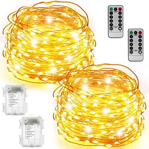 2 Set Luci Fata Batterie Impermeabili con Telecomando (Timer), Bicolor 8 Modalità 100 LED 33ft String Lights Filo di rame Luci Firefly per Camera da letto Wedding Festival Decor