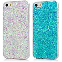 [2 Packs] iPhone 5 / 5S / SE Clear Case Bling Glitter TPU Cover Soft Silicone Gel Shell Luxury Shinny Sparkle Transparent Back Cover Phone Case for iPhone 5 / 5s / SE - Brilliant Blue + Pale Purple