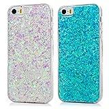 2x Cover iPhone 5s, iPhone 5/SE Custodia con Glitter Brillantini Silicone Ultra Sottile Antiscivolo Antiurto Slim Bumper Case per iPhone 5/5S/SE - Blu + Viola Chiaro