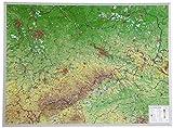 Sachsen Gross 1:325.000: Reliefkarte Sachsen ohne Rahmen (Tiefgezogenes Kunststoffrelief)