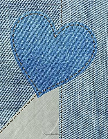 Daily Planner Journal: 365 + Days Bullet Journaling Blank Notebook with sections for date, time, notes, lists & doodles! 8.5 x 11 size, 380 pages + Calendars ~ Denim Heart Cover