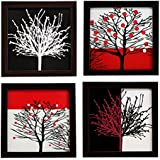 Indianara Wood Framed Wall Hanging Paintings, 18x18x1-cm(Brown) - Set of 4