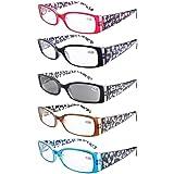 Leesbril van Eyekepper: 5-Pack Spring scharnier Floral Arms Leesbril Inclusief Zonnebril Lezers +0.75