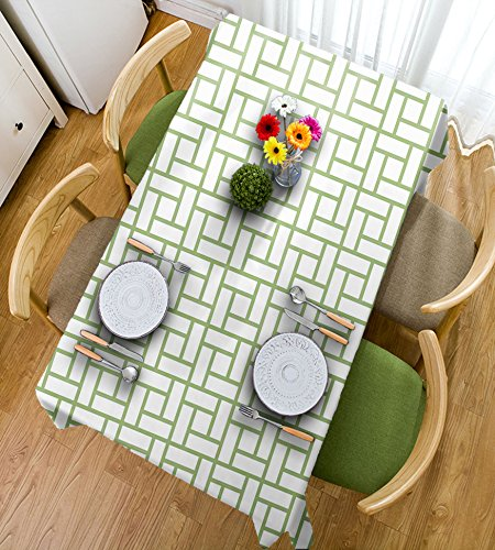 (HAIXIA Tischdecken grün Labyrinth Form Quadrate Rechteckig Geometrische Linien Modern Bild Druck Deko Pistazie Grün Weiß, 55inch*70inch)