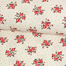 Preis für 0,5 Meter Baumwolljersey kleine Rosen /& Tupfen Modestoffe Blumen
