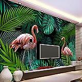 Yosot Tropischer Regenwald Werk Verlässt Flamingo Wandbild Fototapete Für Schlafzimmer Sofa Hintergrund Wandmalereien Benutzerdefinierte Wandbild 3D-350 Cmx 245 Cm