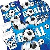 41-teiliges Party-Set Fußball blau - Teller Becher Servietten Tischdecke für 10 Personen