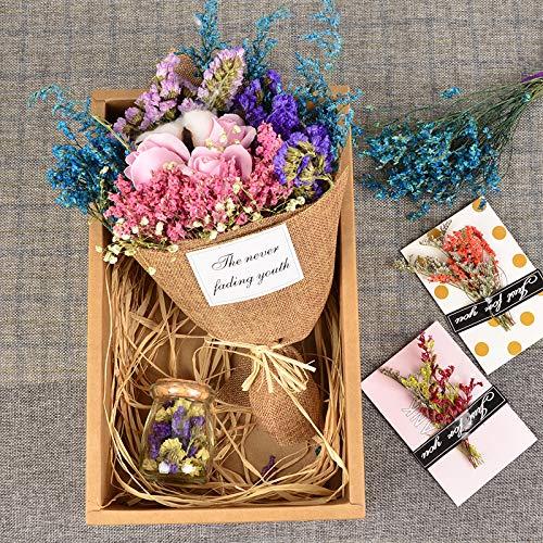 Yuhualiyi123 Olvídate de mí Ramo de Flores de Rosa eterna Hecho a Mano Gypsophila Caja de Regalo Flor Seca 1 Paquete