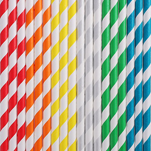 Hautoco pailles en papier biodégradable Rainbow Strip Décorations pailles pour fête (150pcs)