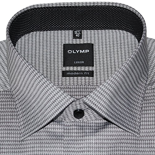 OLYMP Herrenhemd LUXOR, modern fit, schwarz, New Kent, extra langer Arm 69cm Schwarz