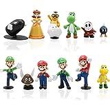 12pcs / Set Super Mario Toys - Figuras de Mario y Luigi Figuras de acción de Yoshi y Mario Bros Figuras de Juguete de PVC de