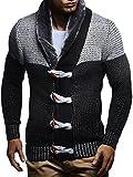 LEIF NELSON Herren Strickjacke Jacke Pullover Hoodie Langarm Sweatjacke Sweater Schalkragen Strick LN5370; Größe L, Schwarz-Grau