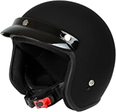 Mach 1 Jethelm Motorradhelm schwarz-matt ECE R 22.05 - Roller Scooter Helm Größe XS bis XXL mit abnehmbarem Schirm