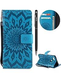 Google Pixel 2 XL Hülle,Pixel 2 XL Leather Handyhülle,WIWJ Wallet Case[Hochwertig Prägung Sonnenblume Muster]Schutzhüllen für Google Pixel 2 XL-Blau
