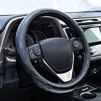 Mr.Ho piel auténtica Funda para volante de coche universal antideslizante Duradero Tamaño (L 37 - 38 cm)