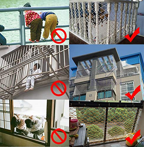 Banister Safety Net Nylon Rope Dense Mesh Stairs Anti Fall Net Outdoor Balcony Protection Net Children Safety Rope Net Kindergarten Decorative Net Fence Mesh Woven Mesh Hammock Swing 2x3m 3x5m 5x8m Mu CF-Safety Safety nets are suitable for various occasions, for use in our indoor balcony stairs to keep the baby's pets or toys safety. As stadiums, balconies, stairs, trailers, climbing facility, construction fence, etc., to prevent objects from falling. ▲ Safety net wire diameter 6MM, mesh spacing 10CM. Color: white rope net. Our protective mesh can be customized according to your needs. ▲Nylon woven mesh, the mesh surface has a large pulling force, and the double needle is a hand-woven mesh, which makes the net have strong impact resistance. 6