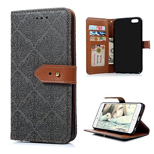 "iPhone 6 Plus/6S Plus Wallet Case YOKIRIN Flip Hülle für iPhone 6 Plus/6S Plus (5.5"") Flipcase Premium PU Leder Brieftasche Book Case TPU Innenschale Ledercase Handyhülle Folio Schutzhülle Handytasche Grau"