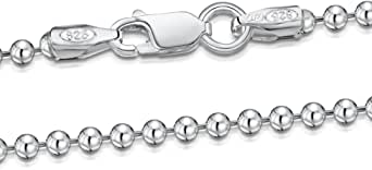 Amberta® Gioielli - Collanina - Catenina Argento Sterling 925 - Modello Sfere - Larghezza 2 mm - Lunghezza: 40 45 50 55 60 cm