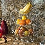3étages Chrome Triple Hamac Fruits/légumes/Produire en métal Panier de support de présentation–MyGift