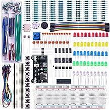 Elegoo Upgraded Electronics Fun Kit w/ Power Supply Module, Jumper Wire, Precision Potentiometer, 830 tie-points Breadboard for Arduino, Raspberry Pi, STM32
