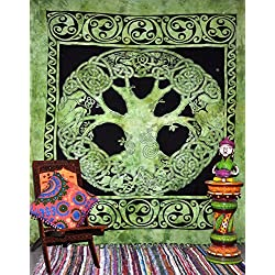 Handicrunch Celtic Tree of Life Tapestry, Tree of Life Hippie Tapestries Wall Hanging, Cotton Bedspread Bed Sheet Cover, Bohemian Boho Coverlet