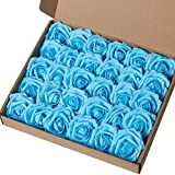 Marry Acting Mothers Day Gift - Artificial Flower Rose, 30pcs Real Touch Artificial Roses for DIY Bouquets Wedding Party Baby Shower Home Decor (Teal Blue)