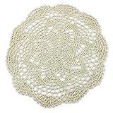 Juego de posavasos individuales hechos a mano en ganchillo, de algodón, tapetes redondos con diseño de flores, 4unidades, de PsmGoods®, algodón, Burlap, 8 Round 25cm Beige